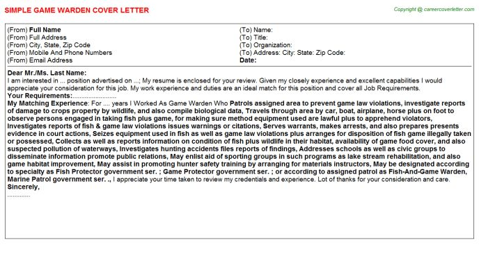 Game Warden Cover Letters