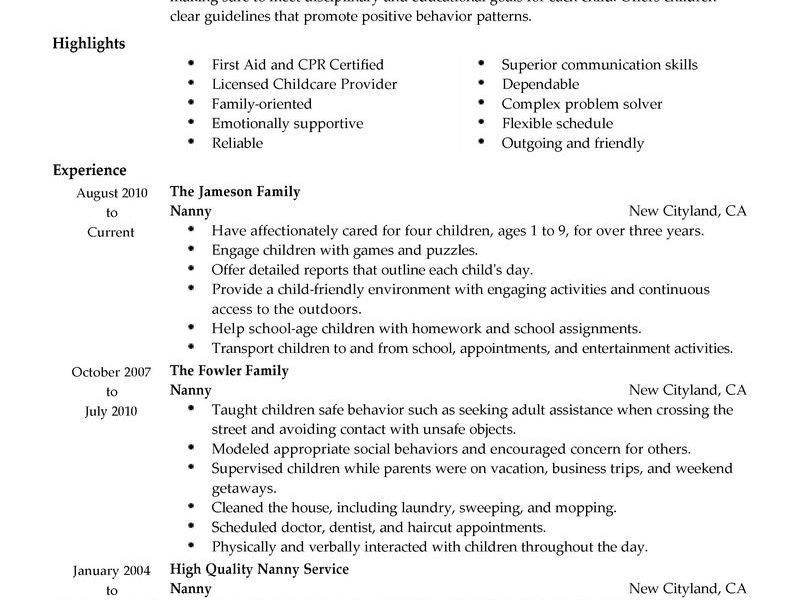 Stylish Inspiration Ideas Sample Nanny Resume 7 Best Example - CV ...