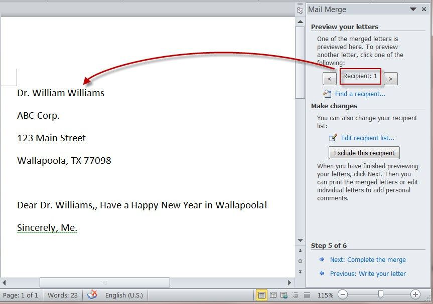 "How to Create Merged Letters with MS Word 2010's ""Mail Merge ..."