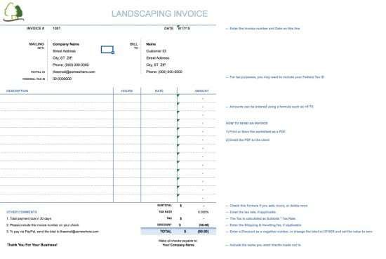 Free Landscaping (Lawn Care Service) Invoice Template | Excel ...