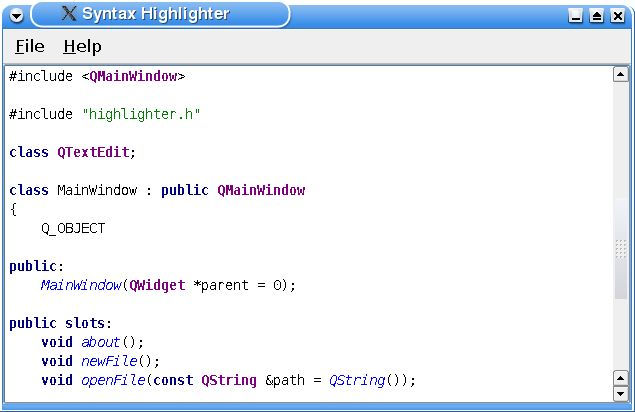 Syntax Highlighter Example | Qt Widgets 5.9