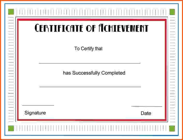 8+ certificate of achievement template word   Survey Template Words