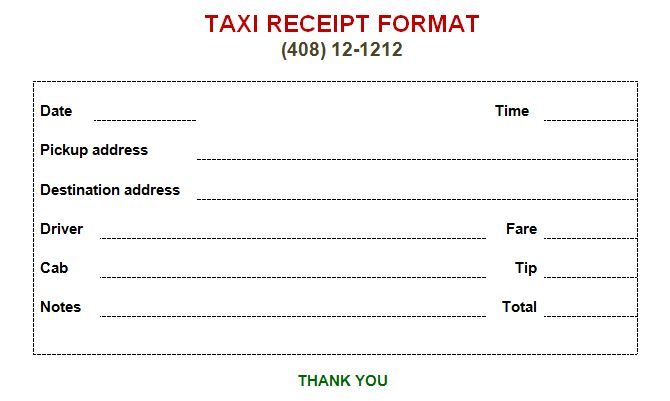 Taxi Receipt Template - Make Your Taxi Receipts Easily