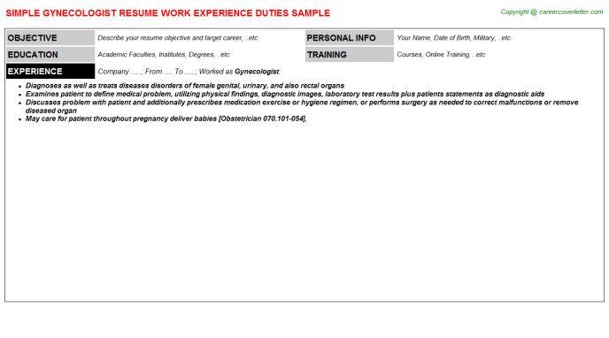 Gynecologist Job Title Docs