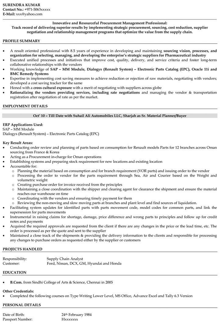 Purchase Manager Resume Samples | Purchase Engineer Resume ...