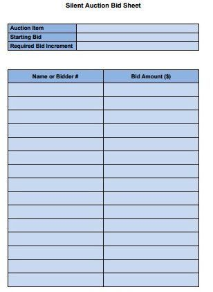 10+ Silent Auction Bid Sheet Templates Free Download!!