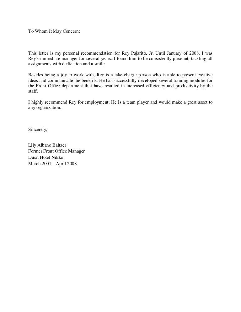 Letter Of Recommendation From Ms. Lily Albano-Baltzer, Front Office M…