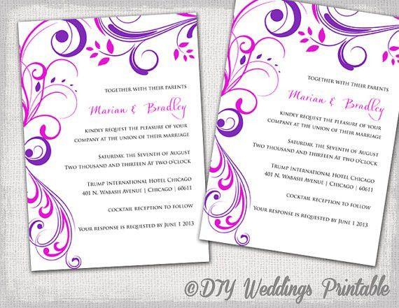 "Wedding Invitation Templates Purple And Pink ""Scroll"" Invitations ..."