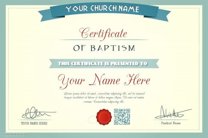 Church certificate template: Baptism, wedding, appointment ...