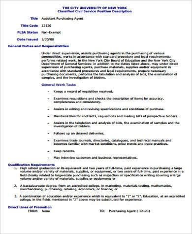 Purchasing Agent Job Description Sample   8+ Examples In Word, PDF