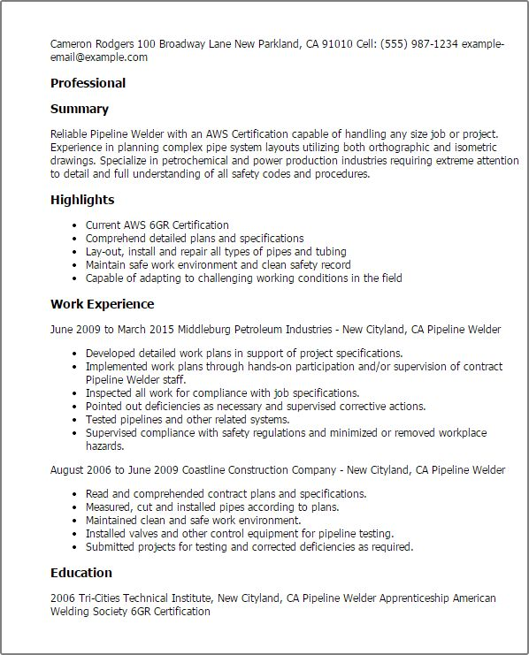 Welder Resume Unforgettable Welder Resume Examples To Stand Out - orbital welder sample resume