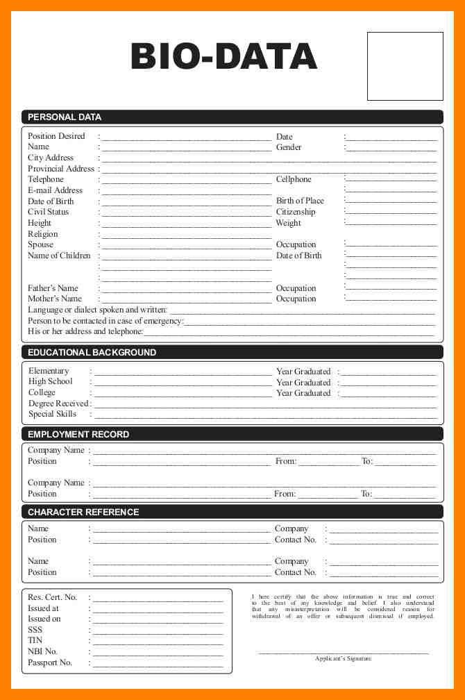 5+ bio data format for teacher job | emt resume