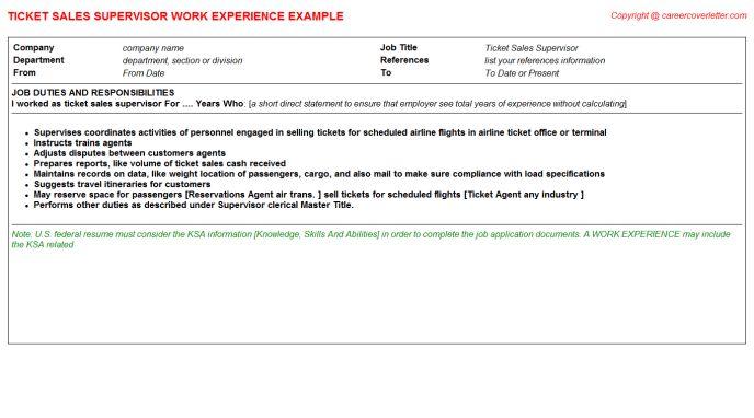 Ticket Sales Supervisor CV Work Experience