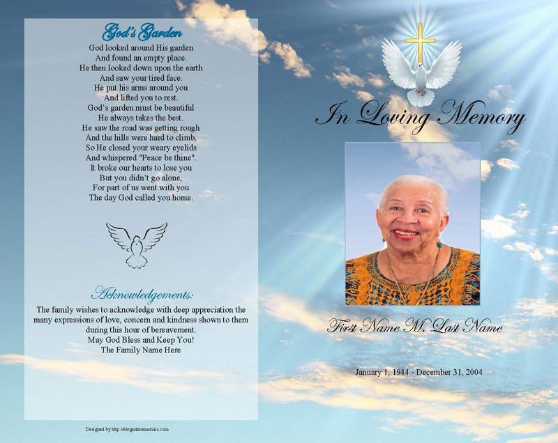 Funeral Program Templates Memorial Bookmark Patriotic » Home ...