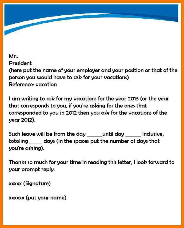 5+ request letter for vacation leave | park-attendant