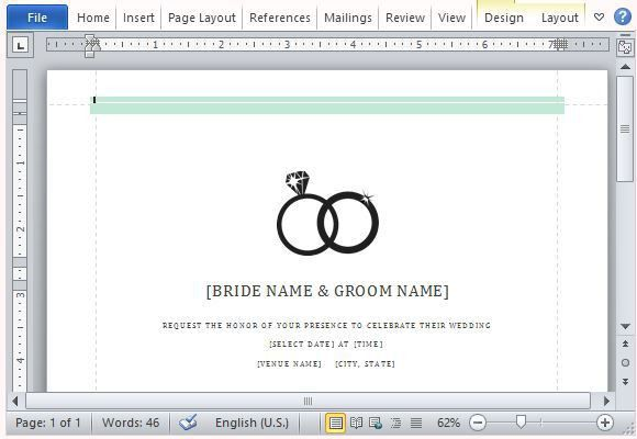 Wedding Invitations Template For Word 2013