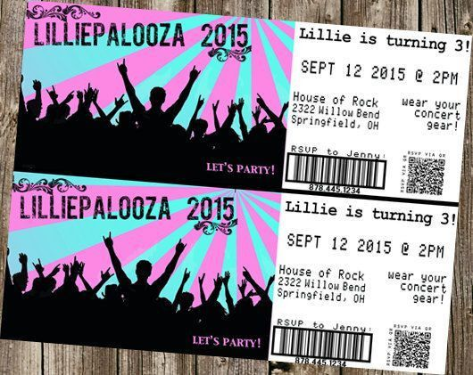 "Birthday Invitation - Concert Tickets - ""Palooza"" ""City Limits ..."