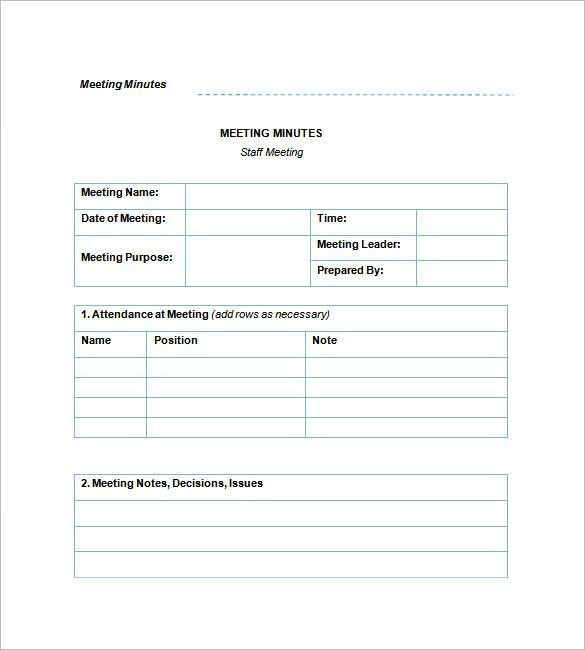 Staff Meeting Minutes Template – 6+ Free Sample, Example Format ...