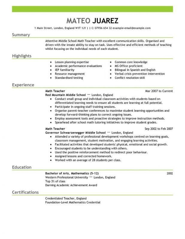 Resume Examples For Teachers. Sample New Teacher Resume Resume For ...