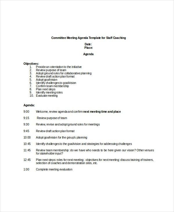 Committee Meeting Agenda Template – 12+ Free Word, PDF Documents ...