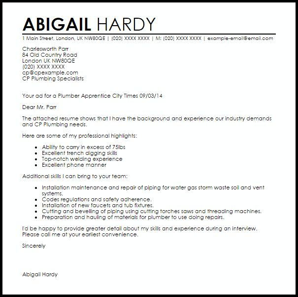 Plumber Apprentice Cover Letter Sample | LiveCareer