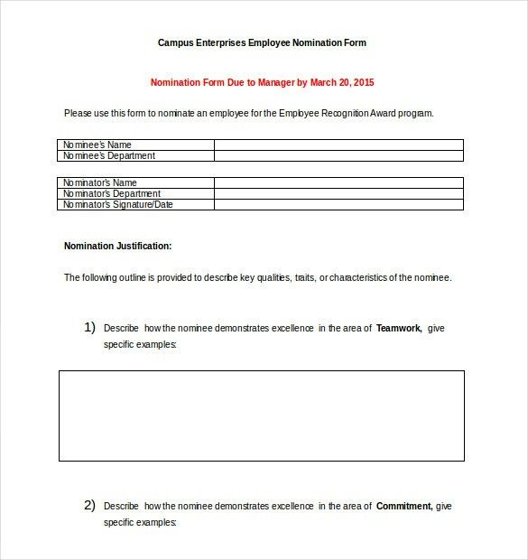 Award Nomination Form Template - 12+ Free Word, PDF Documents ...