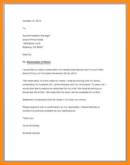 Reservation letter sample letter of making reservation letter 5 hotel booking confirmation letter parts of resume spiritdancerdesigns Gallery