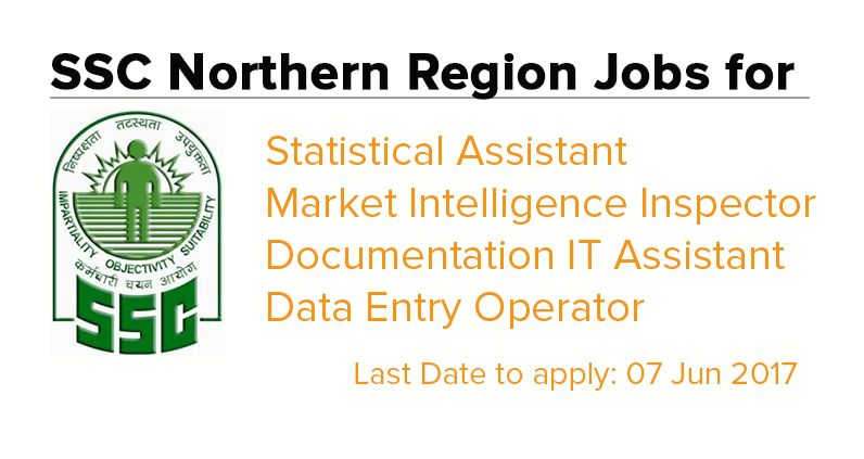 SSC Northern Region jobs for Statistical Assistant / Market ...
