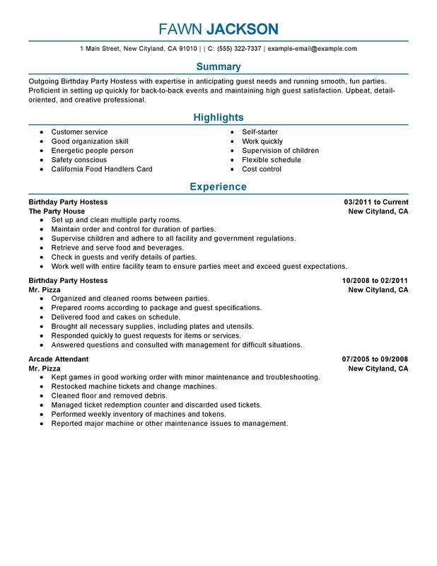 Unforgettable Birthday Party Host Resume Examples to Stand Out ...