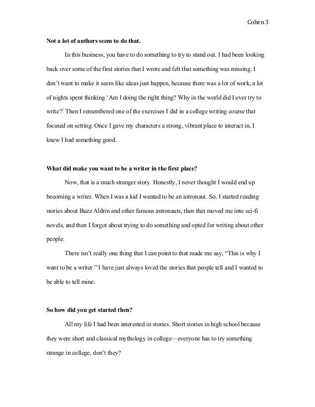 Interview Article Writing Sample