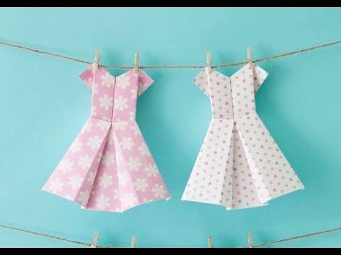 A craft tutorial demonstrating how to make cute origami dresses ...