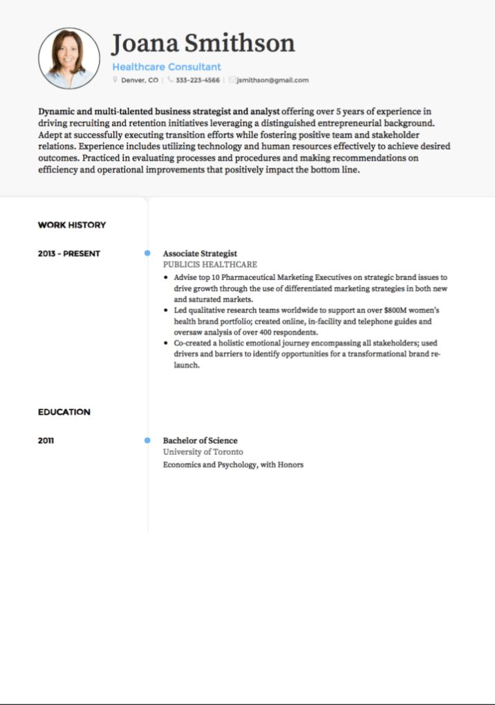 Consulting CV examples and template