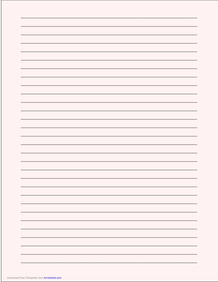 A4 Size Lined Paper with Wide Black Lines - Pale Red Free Download
