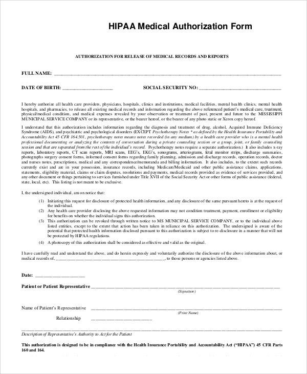 Sample Hipaa Form - 9+ Examples in PDF, Word