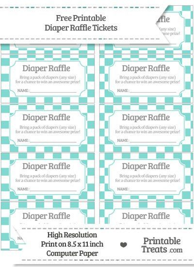 Free Tiffany Blue Checker Pattern Diaper Raffle Tickets | Baby ...