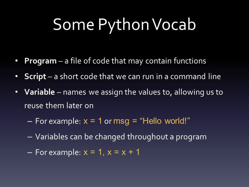 Python. What is Python? A programming language we can use to ...