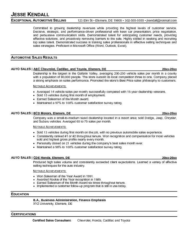 Sample Resume For Car Salesman Salesperson Resume Sales Resume