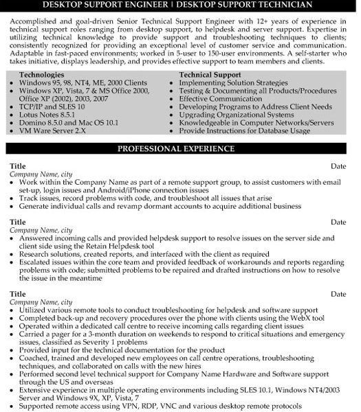 it support resume resume desktop support technician resume sample ...