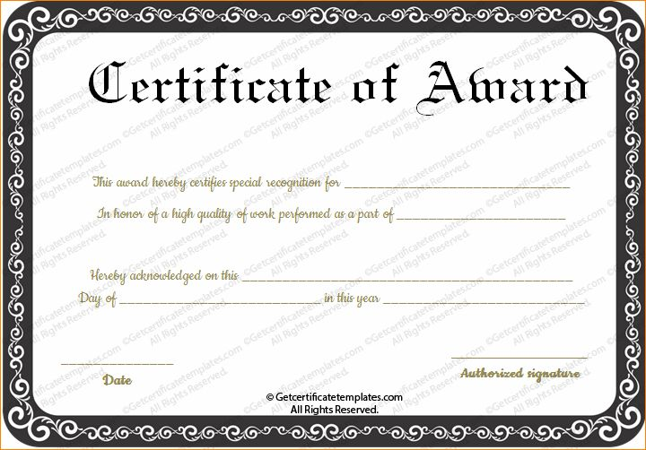 5+ awards certificate template | Outline Templates