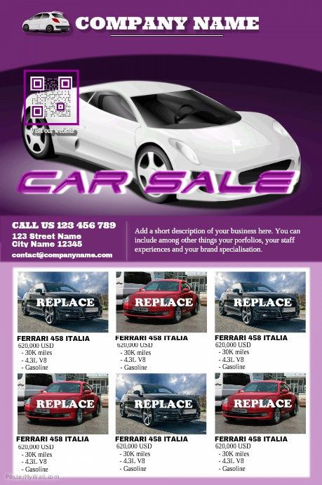 Car sales poster - Modern template http://www.postermywall.com ...