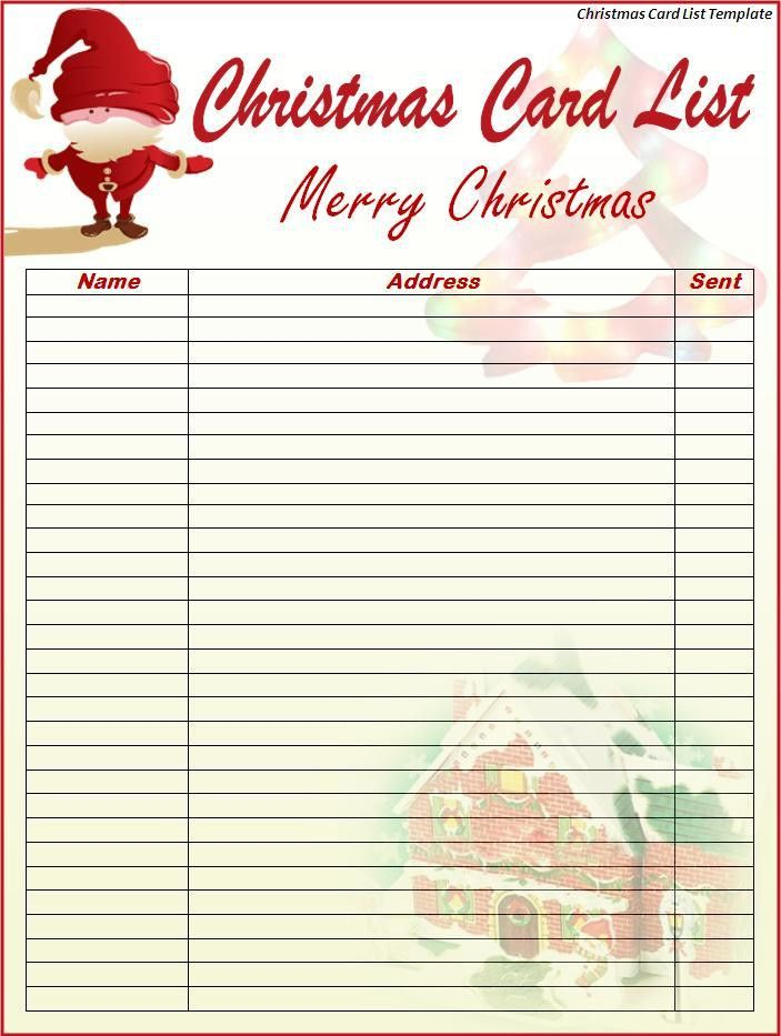 Christmas Card List Template - Best Word Templates