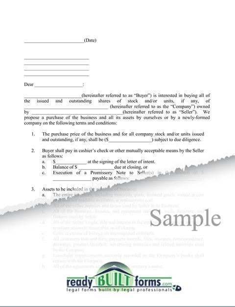 Letter of Intent – Business Acquisition - Download Now