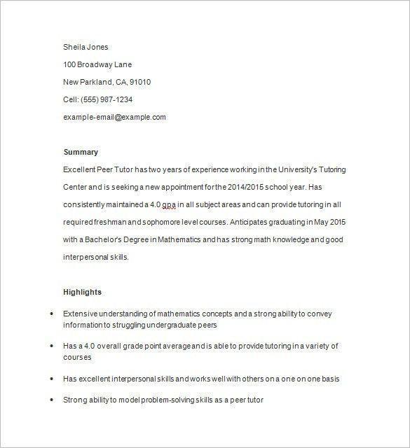 tutoring resume samples