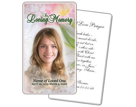 Custom Cover Programs : Custom Funeral Memorial Prayer Card Template