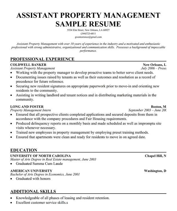 sample resume for property manager manager resume property