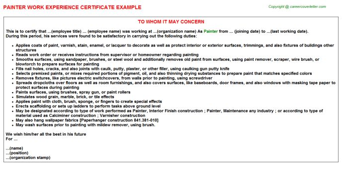 Painter Work Experience Certificate