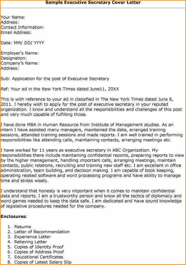 12+ cover letter for executive secretary resume - Basic Job ...