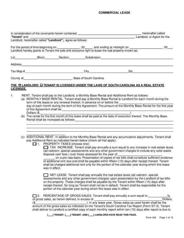 South Carolina Rental Lease Agreement Templates | LegalForms.org
