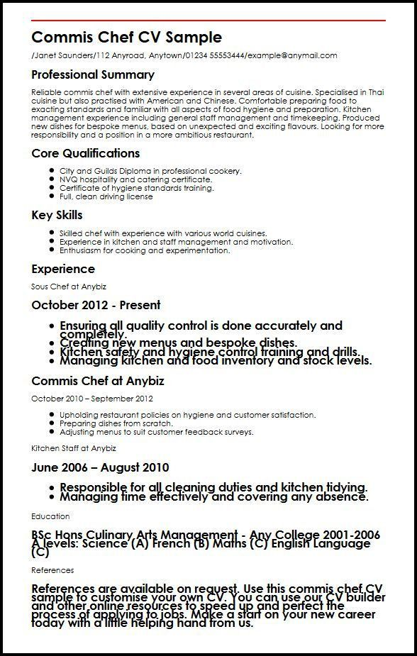Commis Chef CV Sample | MyperfectCV