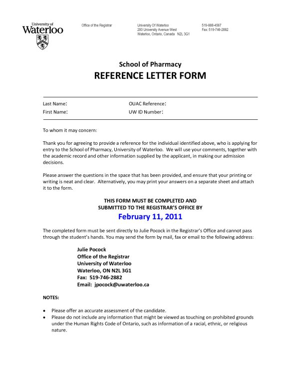 Interesting School of Pharmacy and Reference Letter Form Simple ...